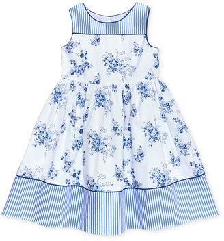 Laura Ashley Stripe Floral Cotton Dress, Toddler & Little Girls (2T-6X) $52 thestylecure.com