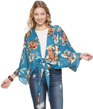 Mudd Tropical Floral Tie-Front Kimono
