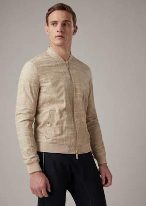 Giorgio Armani Glove-Quality Nappa Lambskin Jacket With Irregular Linen Design