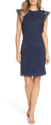 Vince Camuto Lace Ruffle Sleeve Sheath Dress