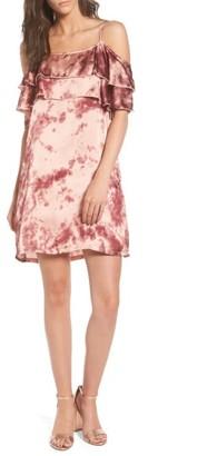 Women's Mimi Chica Print Off The Shoulder Satin Dress $45 thestylecure.com
