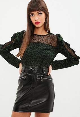 Missguided Lace Panel Leopard Print Frill Blouse