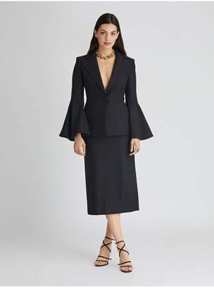 Oscar de la Renta Stretch-Wool Flannel Pencil Skirt