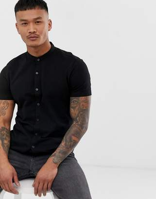 65ad40a79f05 Bershka Join Life jersey short sleeved shirt with grandad collar in black