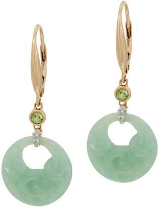 Carved Jade Lever Back Earrings 14K Gold
