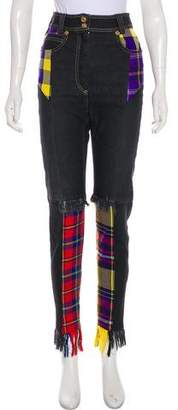Versace Plaid-Accented High-Rise Jeans w/ Tags