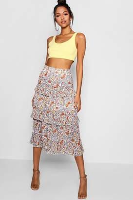 boohoo Peyton Woven Floral Tiered Chiffon Maxi Skirt