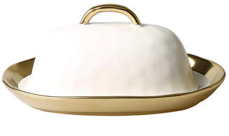 Butter Shoes Classic Touch Ceramic Dish with Cover with Gold Border and Handle