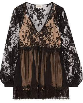 Zimmermann Lace-Paneled Silk-Georgette Top
