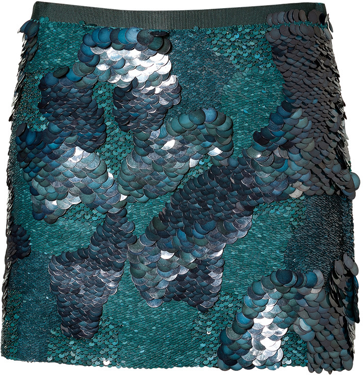 Theory Mineral Green Sequin Baraly Skirt