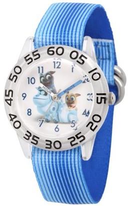 Disney Puppy Dog Pals Rolly, Bingo and A.R.F. Clear Plastic Time Teacher Watch, Blue Stripe Stretchy Nylon Strap