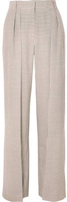 Fendi Pleated Checked Wool Wide-leg Pants - Beige