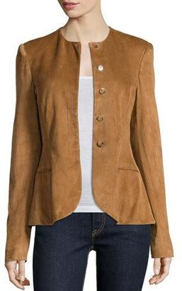 Ralph Lauren Collection Button-Front Suede Peplum Jacket, Caramel $3,690 thestylecure.com