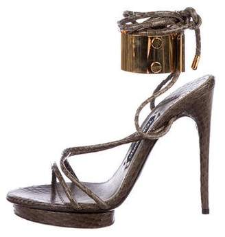 Tom Ford Snakeskin Ankle Cuff Sandals