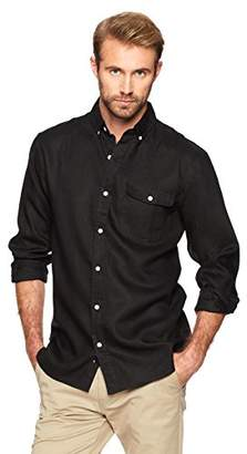 Isle Bay Linens Men's Standard-Fit 100% Linen Long-Sleeve Button-Down Woven Shirt
