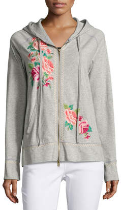 JWLA For Johnny Was Floral-Embroidered Raglan Zip Hoodie, Gray $145 thestylecure.com