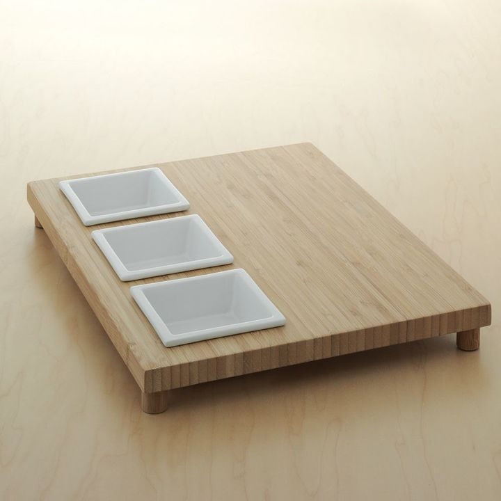 Food NetworkTM 4-pc. Square Bowl & Large Bamboo Serving Tray Set