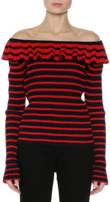 MSGM Off-the-Shoulder Striped Sweater, Red/Blue