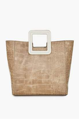 STAUD Shirley Leather Bag | Camel Croc Embossed Cream