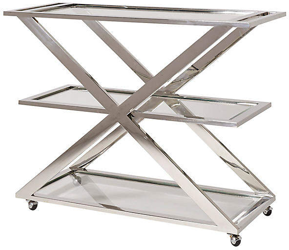 Sleek X-shaped 3-shelf bar cart