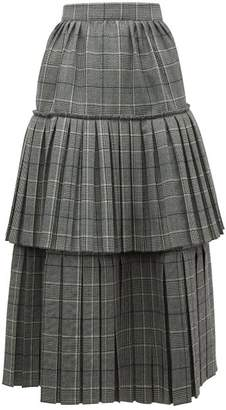 Gucci Prince Of Wales Check Pleated Tiered Wool Skirt - Womens - Grey Multi
