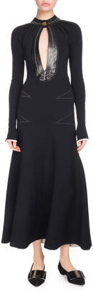 Proenza Schouler Keyhole-Front Long-Sleeve A-Line Dress w/ Topstitching