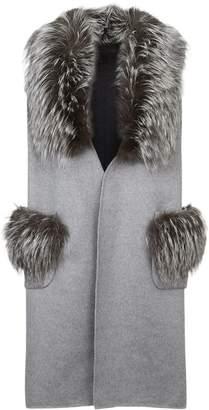 Lilly E Violetta Cashmere Fox Fur Trim Gilet