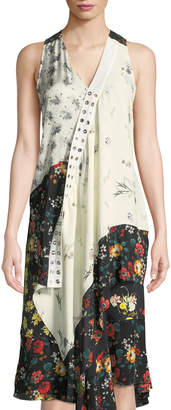 Derek Lam Sleeveless Mixed-Print Asymmetric Silk Top