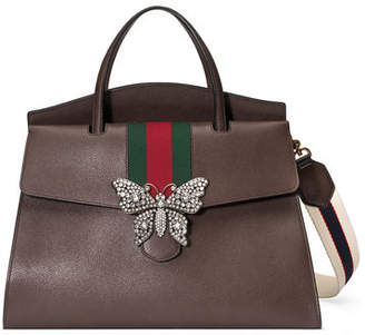 Gucci Linea Totem Large Leather Top-Handle Bag with Butterfly & Web Strap
