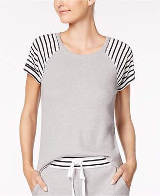 Alfani Stripe-Trimmed Thermal Pajama Top