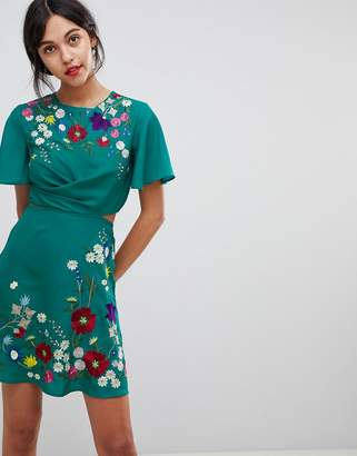 Asos DESIGN Embroidered Cut Out Mini Tea Dress