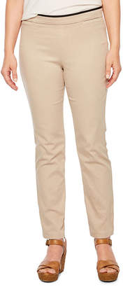 ST. JOHN'S BAY Straight Fit Twill Pull-On Pants-Petite