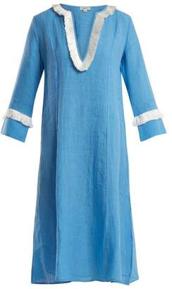 Daft - Capri Fringed Linen Dress - Womens - Blue
