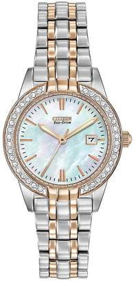 Citizen Eco-Drive Silhouette Crystal Rose Gold Two-Tone Stainless Steel Bracelet Ladies Watch