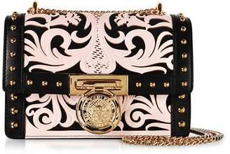 Balmain B.Box 20 Pink/Black Western Pattern Smooth Leather Flap Bag w/Studs
