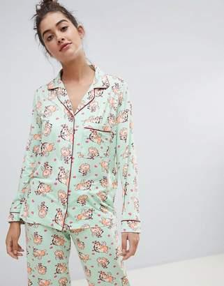 Chelsea Peers Cupid Dog Long Pajama Set