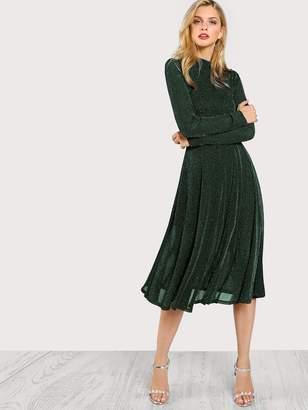 Shein Button Keyhole Mock-neck Glitter Flowy Dress