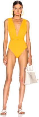 Nicholas Plunge Ruched Swimsuit in Mango | FWRD