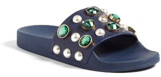 Women's Tory Burch Vail Embellished Slide Sandal $225 thestylecure.com