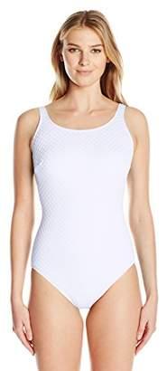 Gottex Women's Textured Solid Mastectomy High Neck One Piece Swimsuit