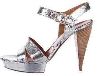Lanvin Metallic Leather Platform Sandals