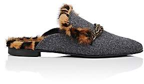Mr & Mrs Italy Women's Fur-Lined Felt Mules-Gray