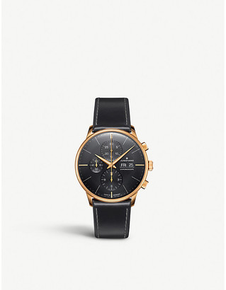 Junghans 027/7923.01 Meister Chronoscope rose gold-plated stainless steel and leather watch