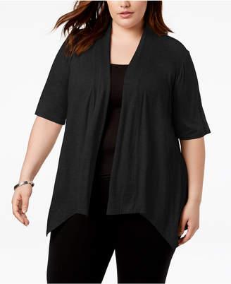 NY Collection Plus Size Handkerchief-Hem Sweater