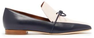 Malone Souliers X Roksanda Celia Tie Front Leather Loafers - Womens - Navy Multi