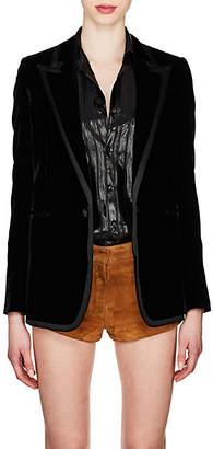 Saint Laurent Women's Ribbon-Trimmed Corduroy Blazer - Black