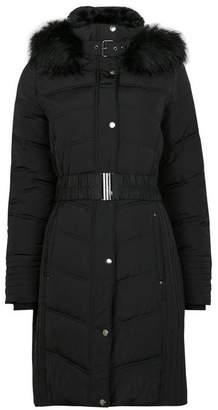 Wallis Black Padded Belted Midi Coat