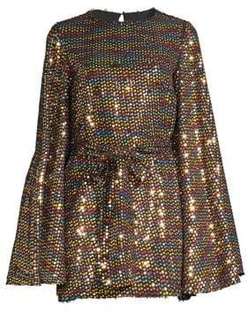 Caroline Constas Anya Rainbow Sequin Mini Dress