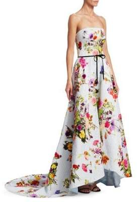 Monique Lhuillier Strapless Hi-Lo Dot & Floral Gown
