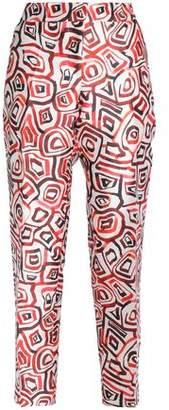 Oscar de la Renta Printed Silk-Twill Tapered Pants
